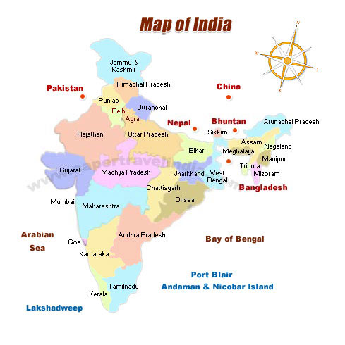 Travel Map of India India Tourist Map