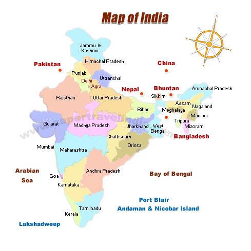 Travel Map of India, India Tourist Map on agra new delhi india map, taj mahal india location on map, madrid tourist map, agra uttar pradesh india map,